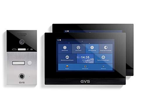 GVS AVS5064A - Videoportero de 4 cables/IP, IP65, RFID, Fingerprint, 2 monitores de 10 pulgadas, App, cámara HD de 120 °, apertura de puerta, 32 GB de memoria, conmutador PoE, 1 juego familiar