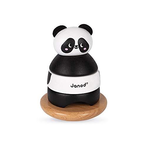 Janod - Culbuto Panda en Bois Massif - Jouet d'éveil Manipulation et Encastrement - Peinture à l'eau - Dès 1 an, J08188