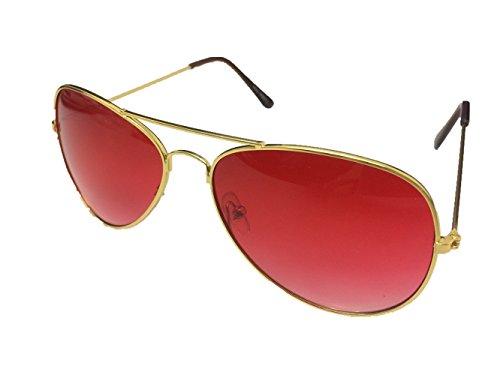 Unbekannt Pilotenbrille Sonnenbrille Fliegerbrille Pornobrille mit Federscharnier NICHT verspiegelt (Klar) (Altrosa Gläser/Gold Rahmen)