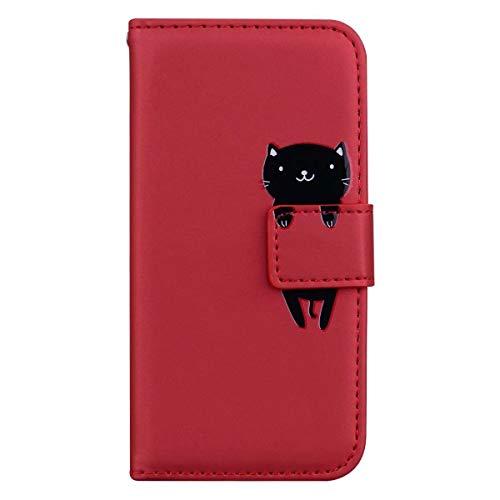 Custodia iPhone 12 Mini, LUCASI iPhone 12 Mini Simpatico Cartone Animato Cover in Pelle, Supporto Stand, con Magnetica a Scatto, Flip Wallet Case, per iPhone 12 Mini 5.4'', Rosso