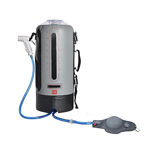 Bolsa de Ducha Solar Exterior Camping Solar Shower Bag Portatil 12L Manguera de 2M PVC con Indicador de Temperatura y Aspersor,Gray