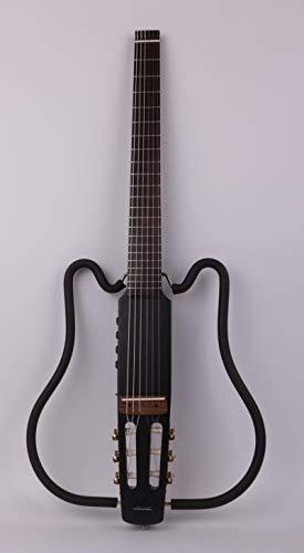 KEPOHK Cuerda de nailon sin cabeza clásica clásica guitarra eléctrica silenciosa efecto incorporado viaje portátil plegable plegable negro