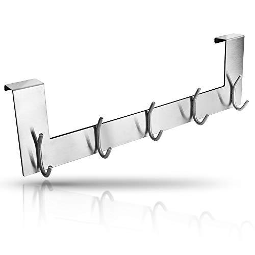 Heimili Türgarderobe Edelstahl mit 5 Doppel Haken, magnetische Hakenleiste für Türen, Aufhänger ohne Bohren ohne Kleben, Handtuchhaken, Jackenaufhänger, Türjackenhalter (Silber)
