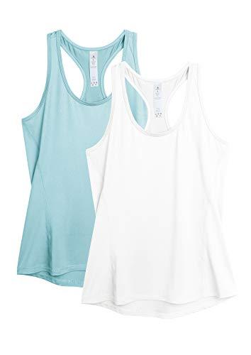 icyzone Damen 2-Pack Sport Tank Top Racerback Yoga Oberteile Fitness Gym Shirts (XL, Weiß/Blasses Blau)