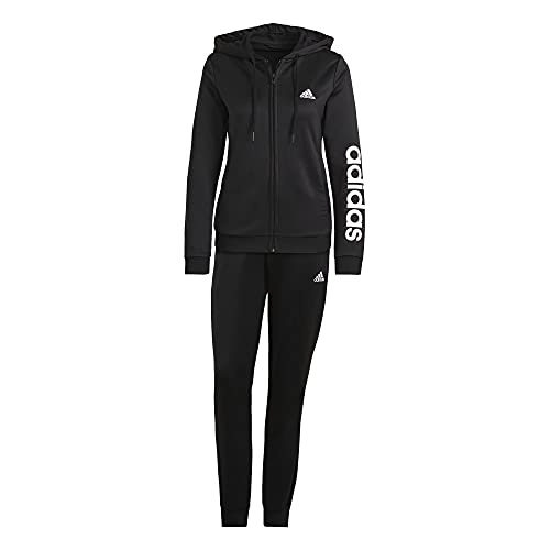 adidas Linear French Terry Track Suit - Chándal para mujer (talla M), color negro y blanco