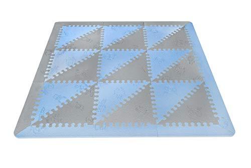 LuBabymats - Tappeto a puzzle per bambini, in gomma EVA. Pavimento extra imbottito per bambini in blu e grigio