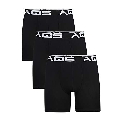 aqs Men's Boxer Briefs - 3 Pack (Large) Black