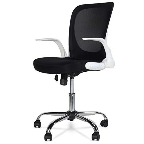 Office Chair Desk Chair Flip-up Armrest Ergonomic Chair Compact 360° Rotation Seat Surface Lift Reinforced Nylon Metal Base