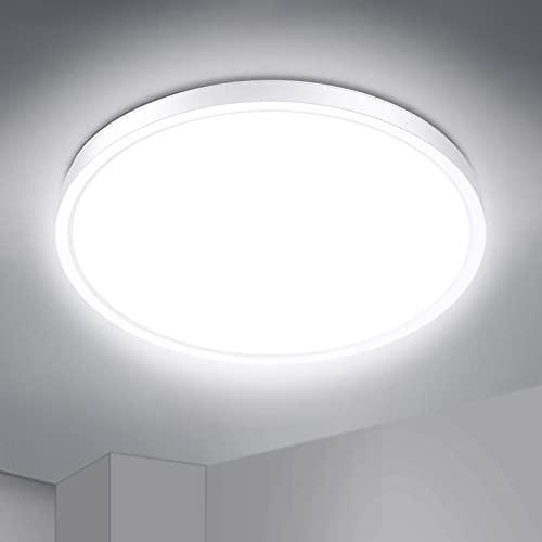 IAB Plafon Led Techo Redondo 24W, Lámpara Techo 2200LM Blanco UltraFino, 4 Capas Luce Protectora de los Ojos, Luz LED Techo 4500K IP44 para Baño Dormitorio Balcón Pasillo Comedor Cocina Habitación ⭐