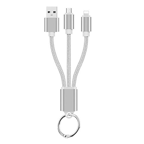 Shot Case Cable Cargador 2 en 1 Llavero para iPhone 11 & Apple Adaptador Micro USB Lightning Metal Nylon (Plata)