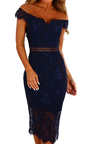 Off Shoulder Lace V Neck Pencil Dress for Women Short Sleeve Bodycon Cocktail Knee Length Evening Midi Dresses Navy L