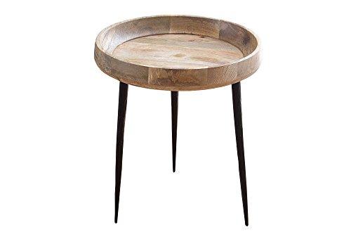 DuNord Design houten zijtafel massief hout mangohout Jaipur natuurlijke massief hout tafel 52 cm
