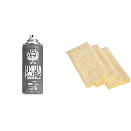 Motorrevive - Limpia Tapicerias y Alfombrillas Coche Profesional - 400 ml & Amazon Basics - Bayeta ultragruesa de Microfibra (3 Unidades)