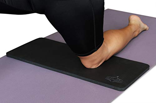"""SukhaMat Yoga Knee Pad - NEW! 15mm (5/8"""") Thick - The best yoga knee pad for a pain free Fitness Exercise Workout. Cushions pressure points. Complements your full-size yoga mat. (Black)"""
