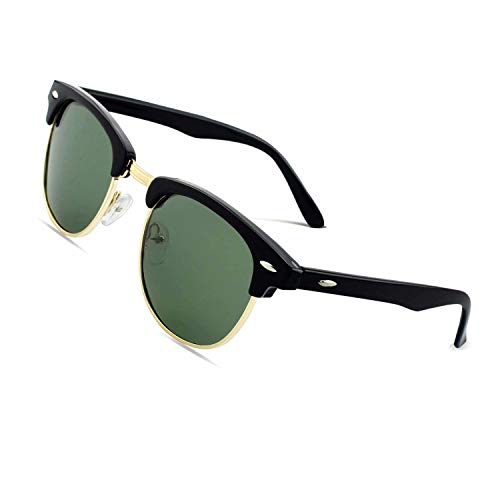 CGID MJ56 Retro Vintage Sonnenbrille im angesagte 60er Browline-Style mit markantem Halbrahmen Sonnenbrille,Glänzend Schwarz-Grün
