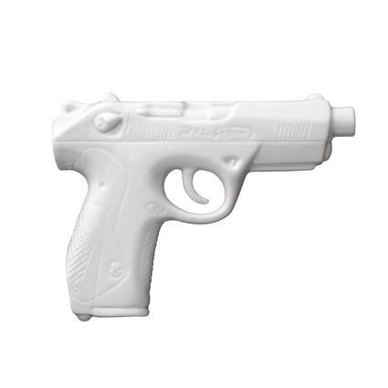 Bloomingville Pistolen Vase aus Porzellan Gun Shape weiß lackiert 12,3x3,3xh16,6cm