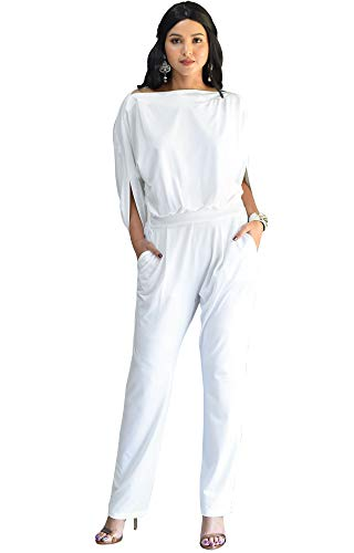KOH KOH Plus Size Womens Short Sleeve Sexy Formal Cocktail Casual Cute Long Pants One Piece Fall Pockets Dressy Jumpsuit Romper Long Leg Pant Suit Suits Outfit Playsuit, White 2XL 18-20