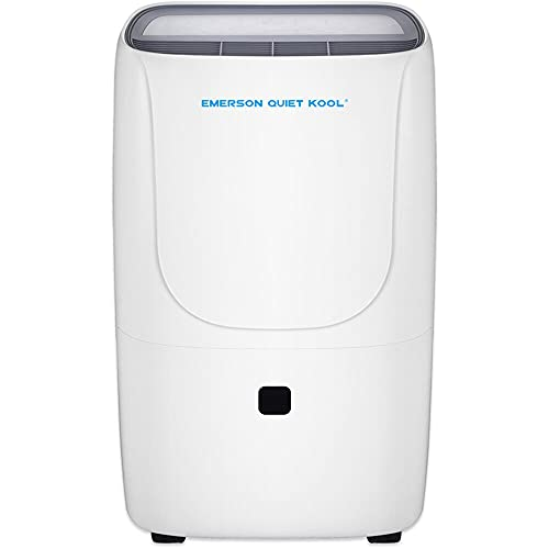 Emerson Quiet Kool 50 Pint Dehumidifier with Front-Access Collection Bucket, 24-Hour Timer, Auto Shut-Off, and Adjustable Humidity Range for Bathrooms, Basements, and Bedrooms | EAD50E1T, White