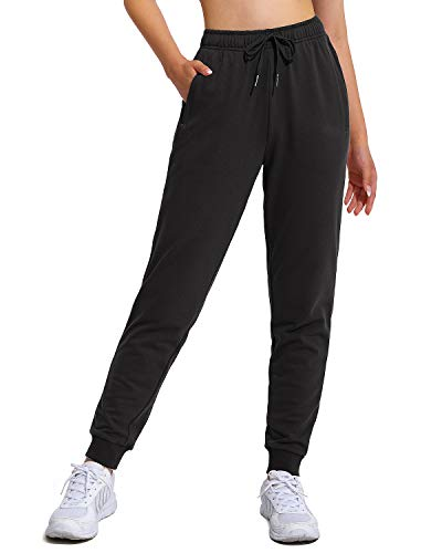 WALK FIELD Women's Cotton Sweatpants French Terry Stretch Drawstring Workout Jogger Pants with Zippered Pockets (Black, L)