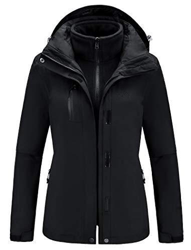 CAMEL Outdoor Jacket Women Winter Ski Jacket Windbreaker 3 in 1 Waterproof Hooded Rain Coat for Traveling Climbing Hiking 2.0 (Black, XXL)