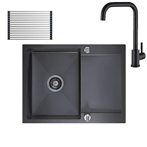 CECIPA Fregadero de cocina, 1 bandeja escurridor reversible de 60x45 cm, fregadero de acero inoxidable al menos 40 cm con rebosadero, red de desagüe y kit de sifón automático, antracita +grifo negro