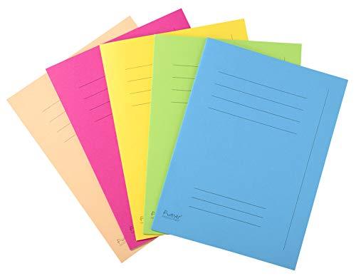 Exacompta 435000E Aktendeckel (mit Beschriftungsfeld, Recycling Karton 250 g, DIN A4) 50er Pack zufällige farbe
