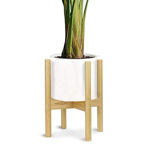 Soporte de suelo ajustable | Macetas y plantas base | Soporte de bambú expandible para flora interior y exterior | Plataforma para macetas | M&W