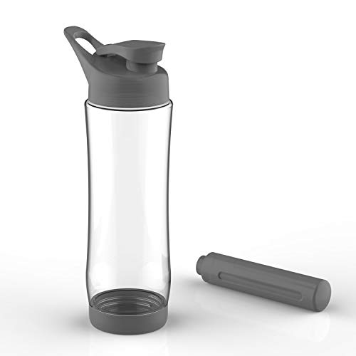 Reusable Gym Water Bottle Fitness Sport Cool Water Bottles with Freezer Stick Grey 21oz