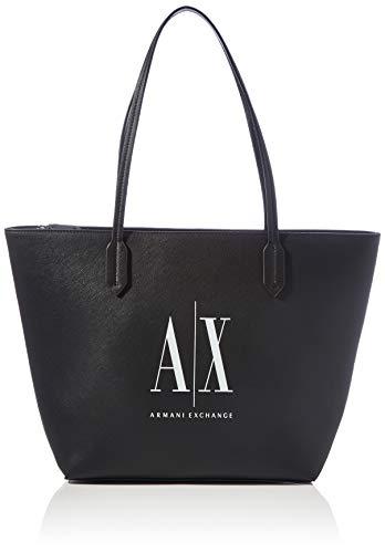 Armani Exchange Womens Shoulder-handbags Shopper, Black White, TU