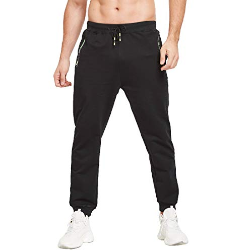 Tansozer Herren Jogginghose Sporthose Baumwolle Freizeithose lang mit reißverschluss Taschen(Schwarz M)