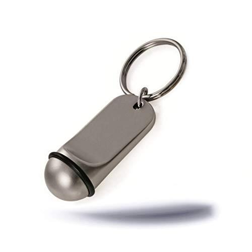 Kerafactum Kleiner eleganter Schlüsselanhänger für Autoschlüssel als Hotelschlüssel Schlüssel Anhänger Silberoptik mit Gummiring Key Tag