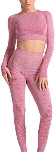 MISLD Frauen-Nahtlose Yoga Set Fitness Sportanzüge Gym Langarm Crop Top Leggings Trainingshose (Color : Wine red, Size : S)