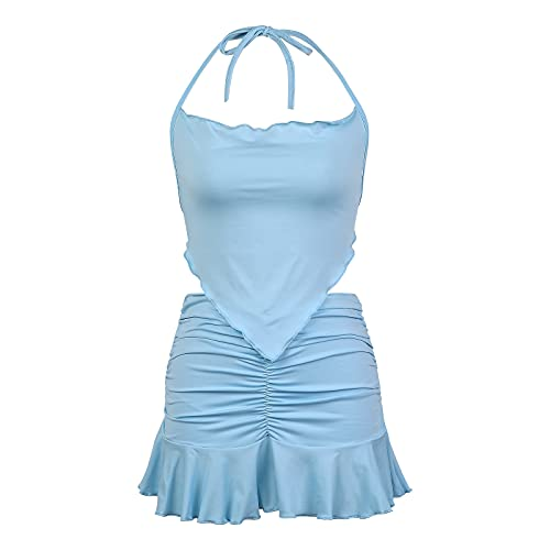 2Pcs Women Summer Outfit, Solid Color Backless Tank Tops + Ruffled Skirt Suit for Girls (Blue, Large)