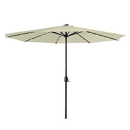 HENGMEI 350cm ALU Sonnenschirm Gartenschirm Terrassenschirm Marktschirm Ampelschirm Strandschirm Kurbelschirm mit UV Schutz 40+, mit Solar LED für Balkon, Garten, Terrasse,Beige