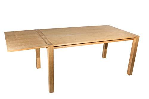 SAM Esstisch 160x90 cm Eiche furniert mit Ansteckplatte, Nirvana, gebeizt & geölt, Esszimmertisch massiv, Unikat, 2. Wahl