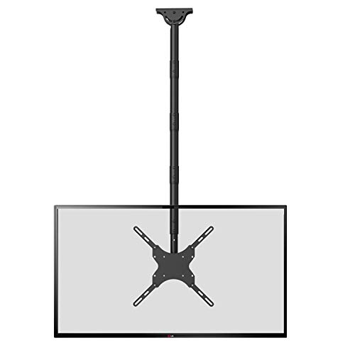 TV Ceiling Mount Adjustable Bracket Fits Most LED, LCD, OLED and Plasma Flat Screen Display 26 to 65 Inch, up to 110 Lbs, Height Extension up to 58 Inch, VESA up to 400x400mm (CM2665XL), Black by WALI