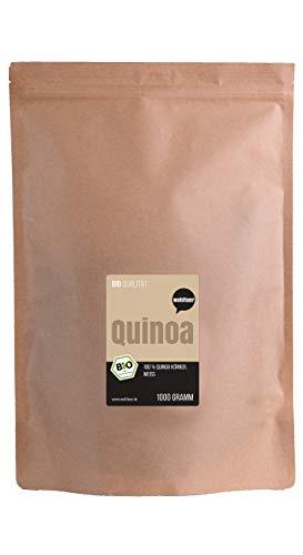 Wohltuer Bio Quinoa weiß 1000g | Glutenfrei, Cholesterinfrei, Nährstoffreich | Vegetarisch und Vegan | vielseitiges Lebensmittel in geprüfter Bio-Qualität (1000g)