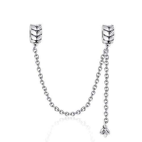 Cadena de seguridad, plata de ley 925, para pulsera de charms Pandora