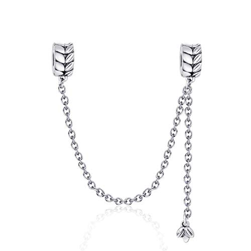 YiRong Jewelry, ciondolo charm con catenina di sicurezza in argento Sterling 925, con chiusura a clip, distanziatore per bracciali Pandora con ciondoli