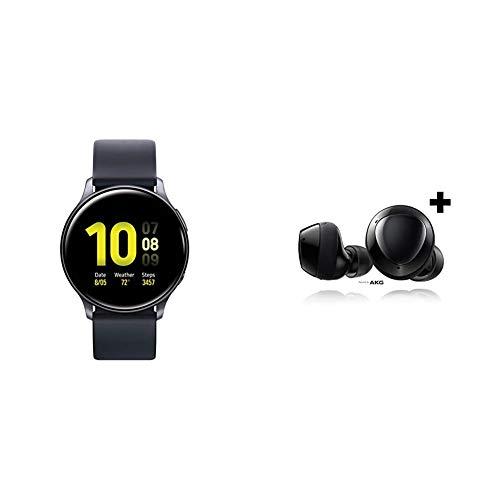 Samsung Galaxy-Watch Active2 W/ Enhanced Sleep Tracking Analysis, Aqua Black & Samsung Galaxy Buds+ Plus, True Wireless Earbuds w/Improved Battery and Call Quality, Black