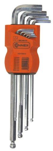 Connex COXT560315 - Set di chiavi esagonali lunghe a testa tonda, 9 pezzi da 1,5-2,0-2,5-3,0-4,0 mm