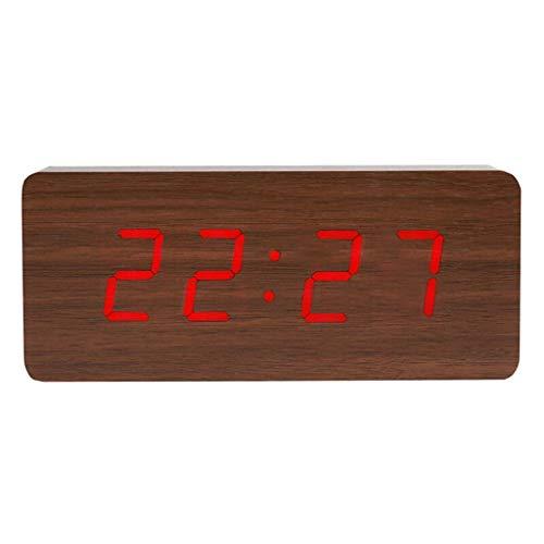 DEF Multigrupo Despertador Pantalla LED Reloj Despertador silencioso, con Plug-in Funciona con batería del Reloj del termómetro del sueño de Noche (tamaño : M-2)
