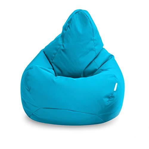 Loft 25 Puff Pera Gamer | Silla Puff Pera para Exteriores Interiores Sala | Resistente Al Agua | Limpieza Fácil | Diseño Ergonómico para Soporte del Cuerpo | Durable Y Cómoda (Aqua, Puff)