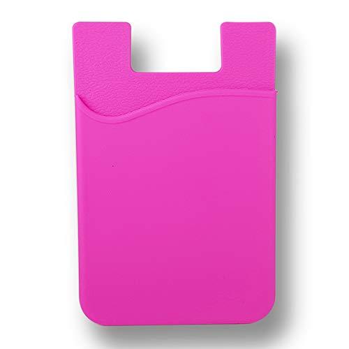 KSTORE365 Tarjetero Porta Tarjetas Adhesivo para Móviles De Silicona (Fucsia)