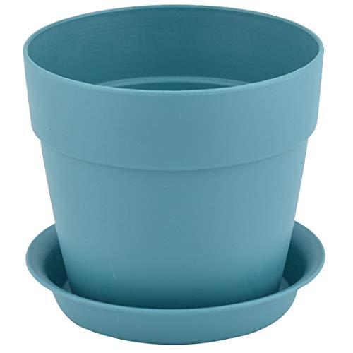 sourcingmap balcon design rond Plastique Cactus Fleur Semoir Support Plateau Pot Bleu 12.8cm