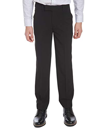 Calvin Klein Big Boys' Flat Front Pant , Black, 14