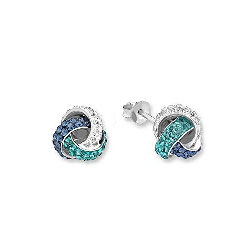 amor Ohrstecker für Damen 10 mm Knoten 925 Silber veredelt mit Swarovski Kristallen blau türkis