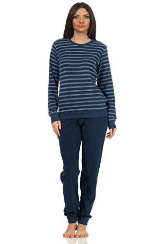 Damen Frottee Pyjama Langarm Schlafanzug mit Bündchen - 212 201 90 801, Farbe:Marine, Größe:48-50
