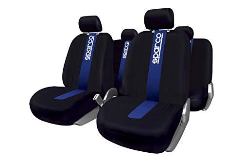 Sparco SPC1011 CLASSIC - Juego de fundas para asientos de coche, color negro y azul, 9 Piezas
