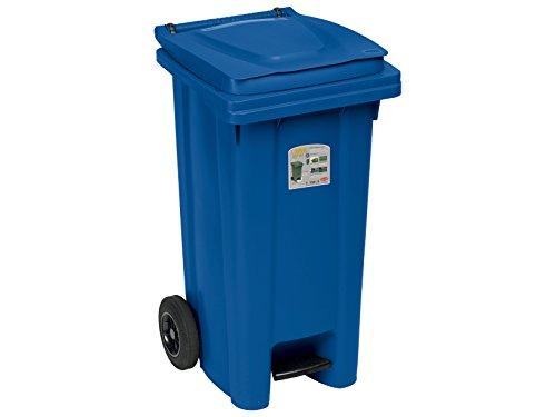 Stefanplast 6436 Bidone Immondizia con Ruote con Pedale, Blu, 48 x 55 x 94 cm